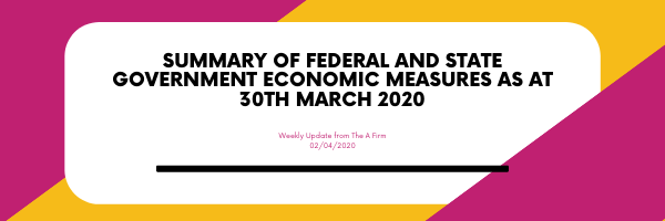 Summary of Federal and State Government Economic Measures as at 30TH March 2020