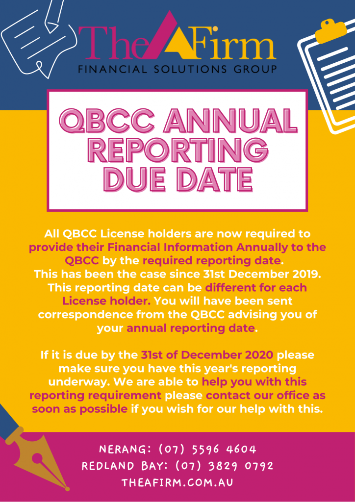 QBCC Annual Reporting Due Date Reminder
